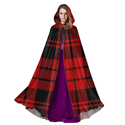 N\A Simple Red Tartan Scottish Plaid Adult Witch Cloak Mens Cape Cloak 59inch for Christmas Halloween Cosplay Costumes