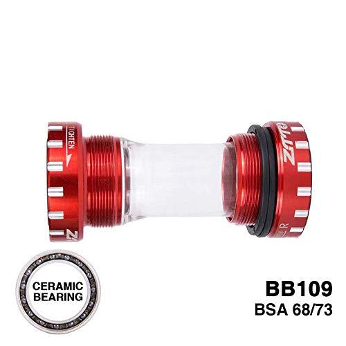 Ramble Eje de pedalier de Bicicleta de montaña Soporte Inferior 68 mm / 73 mm BB109 BSA 68 Juego de bielas Piezas de Eje de rodamiento para Ciclismo(Red)
