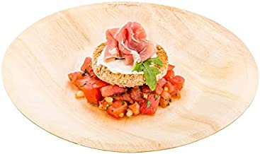 Linker Wish Disposable Wooden Plates Promotion - Party Wedding Supplies, 190mm Tableware Disposable Sushi/Salad/Dessert Round Wood Plate, 10/Pack