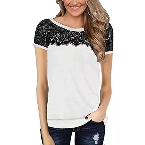 PRJN Camiseta de Encaje Superior para Mujer para Mujer Camiseta de Verano de Manga Corta para Mujer Pullover Top de Encaje con Cuello Redondo Camiseta Superior Informal Camiseta para Mujer Camiseta
