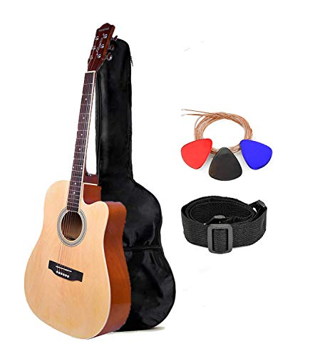 Kadence Frontier Series Acoustic Guitar, Jumbo 41 inch, Natural,Die Cast Keys Combo with Bag, 1 pack Strings, Strap and Picks