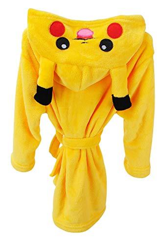 YAOMEI Kinder Morgenmantel Bademäntel Einhorn Kapuzenpullover Jungen Mädchen Kigurumi Karikatur Nachtwäsche Nachthemd Schlafanzug (150, Pikachu)