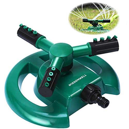 WISDOMWELL Wisdom Garden Sprinkler Automatic Lawn Water Sprinkler 360 Degree 3 Arm Rotating Sprinkler System for Watering Your Lawn Plants Flowers Veggies and More