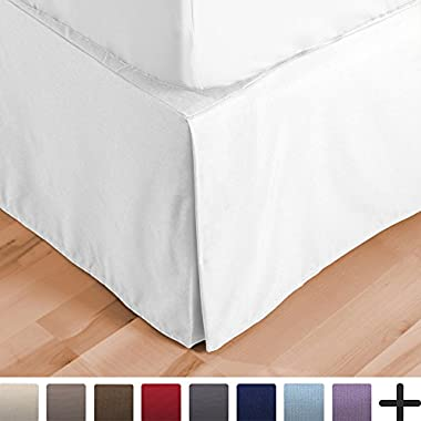 Bare Home Bed Skirt Double Brushed Premium Microfiber, 15-Inch Tailored Drop Pleated Dust Ruffle, 1800 Ultra-Soft Collection, Shrink and Fade Resistant (Queen, White)