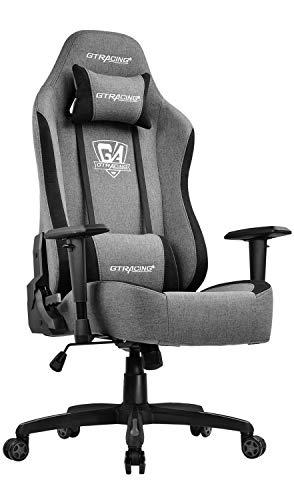 GTRACING ゲーミングチェア ファブリック リクライニング チェア オフィス デスクチェア ゲーム用チェア 通気性抜群 ソファーの座り心地 GT505-GRAY