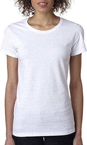 Gildan - Camiseta de algodón resistente para mujer - 5000L, S,Blanco, Blanco (Small,white)