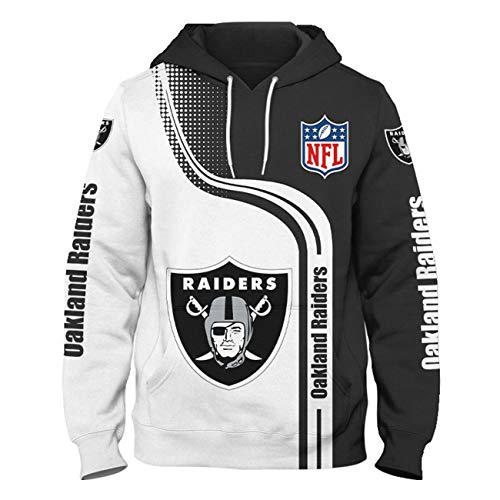 SZRXKJ Herren Kapuze 3D Digitaldruck F-Serie Farb Patchwork Oakland Raiders Pullover Hoodies Sweatshirts(3XL,Blue)