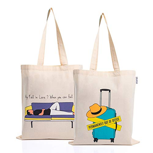 EONO Large Canvas Tote Bag Cotton Grocery Bags Reusable Eco-Friendly Shopping Bag for women