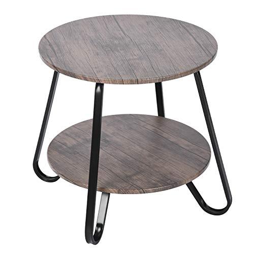 Homylin - Mesa auxiliar con 2 niveles para salón, mesa baja redonda con marco de metal de té, estante de café de madera, 45 x 46 cm