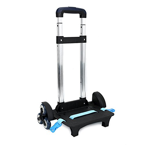 Backpack Trolley - Wheeled Trolley Hand Aluminium Alloy Non-folding Trolley Cart for Backpack (Blue, 6 Wheels)