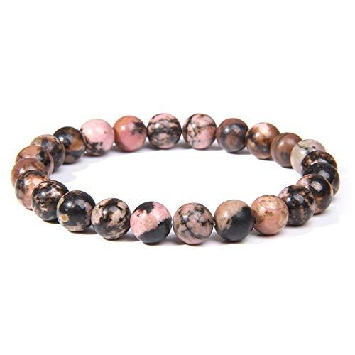 Pulseras de zafiros naturales Mujeres 8 mm pulido Piedra Piedra Chakra Cubo-Beads Yoga Oración Brazalete para Hombres Joyería 14 19cm