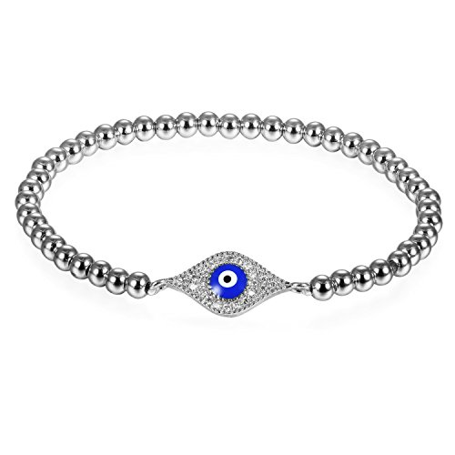JewelryWe Schmuck Damen Charm Armband, Elegant Zirkonia Evil Eye Blaue Böse Auge Nazar Boncuk Perlenarmband Armkette Armreif, Silber Blau