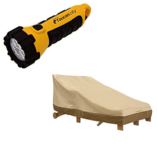 Toucan City LED Flashlight and Classic Accessories Veranda Patio Double WIde Chaise Cover 55-464-011501-00