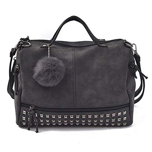 Women Purses and Handbags Rivet Crossbody Purse Hobo Bag Leather Studded Tote Top Handle Satchel Shoulder for Ladies (black)
