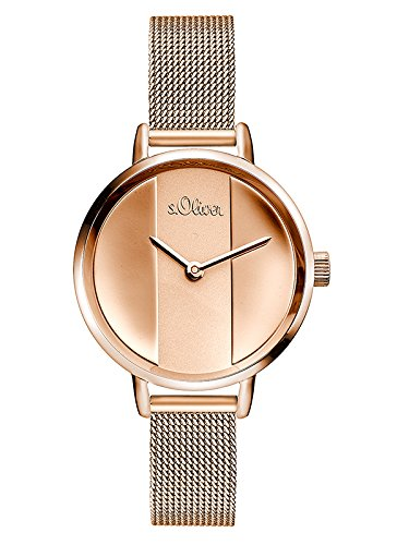 s.Oliver Damen Analog Quarz Armbanduhr mit Edelstahl Armband SO-3540-MQ