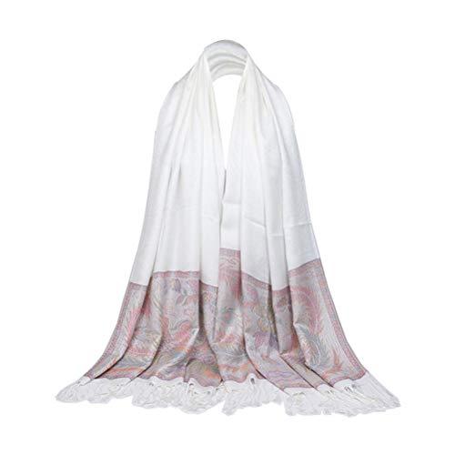 Damessjaal bloemen bedrukt kwasten licht bohemien sjaals voor bruiloft jurk receptjurk thuiskomst jurk damesmode wit