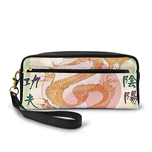 Federmäppchen mit Reißverschluss, asiatischer chinesischer Drache mit Kampfsport-Figuren, japanischer Samurai Ying Yang Bild, kleine Make-up-Tasche