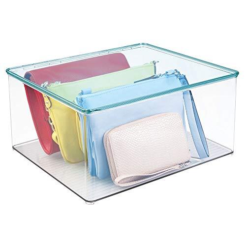 mDesign - Opbergbox - kledingkastorganizer - voor de slaapkamer - voor het opbergen van kleding - veelzijdig/stapelbaar/met deksel/plastic - Doorzichtig/blauw