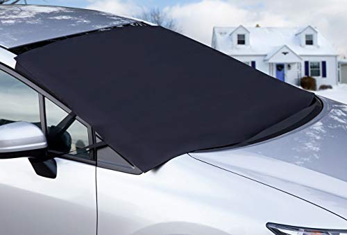 OxGord Windshield Snow Cover Ice Removal Wiper Visor Protector All Weather Winter Summer Auto Sun Shade for Cars Trucks Vans and SUVs Stop Scraping with a Brush or Shovel