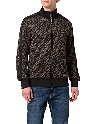 Replay Herren M3340 Sweatshirt, 050 Black/Dark Grey, XL
