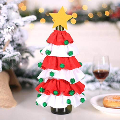 Christmas Wine Bottle Covers Decorative Personalized Bottle Bags Decoration Wine Accessory Sets Sweater Bottle Bags For Xmas Party Decorations Wine Bottle Dress Set New Home Gifts For Home (Red)