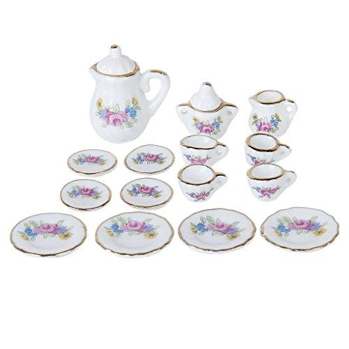 TOOGOO 15piezas Vajilla de casa de munecas en miniatura Juego de te de porcelana Cubiertos plato taza con patron floral