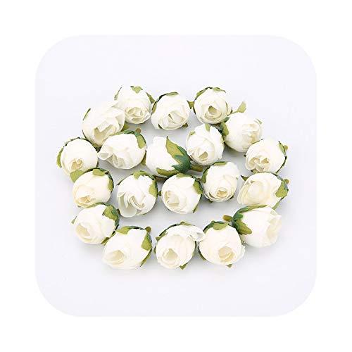 Fake Flower - Lote de 50 cabezas artificiales de seda rosa artificial, accesorios para boda, San Valentín, regalo para decoración del hogar, 10 unidades