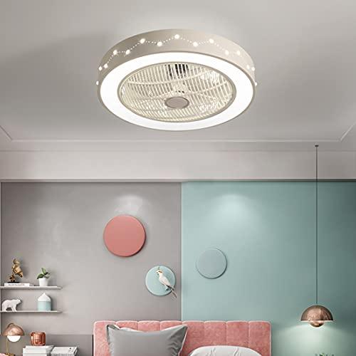 YUNLONG Moderno Salon Ventilador Techo con Luz Silencioso, LED Regulable Lamparas Ventilador De Techo con Mando Distancia 36W con Temporizador Invisible Ventilador Techo Dormitorio 3 Velocidades