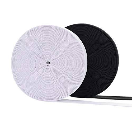 witgift Gummiband Schwarz Weiß 20MM Breit,2 x 10M Elastisches Band Nähen Gummilitze Gummibandspule Nähbänder für Nähen und Haushalt DIY Handwerk