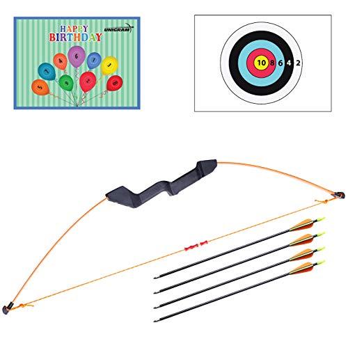 UniGram Pfeil und Bogen; Recurvebogen für Kinder und Jugend zum Bogenschießen und Outdoor-Aktivitäten; EIN tolles Geschenk (Set: Bogen (12 lbs) mit 4X Pfeilen).