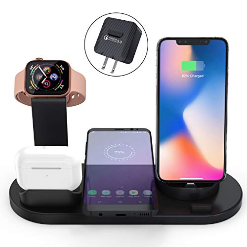 Elaime Fast Wireless Charger, 4 in 1 Wireless Charging Dock Compatible with Apple Watch 5 and Airpods Pro, Qi Wireless Charging Station Stand for iPhone 11 11 Pro Max X Xs XR Xs Max 8 8 Plus (Black)