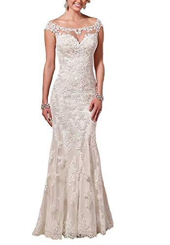 Lace Wedding Dresses Long Off Shoulder Sheath Mermaid Bridal Gowns US 4 Ivory