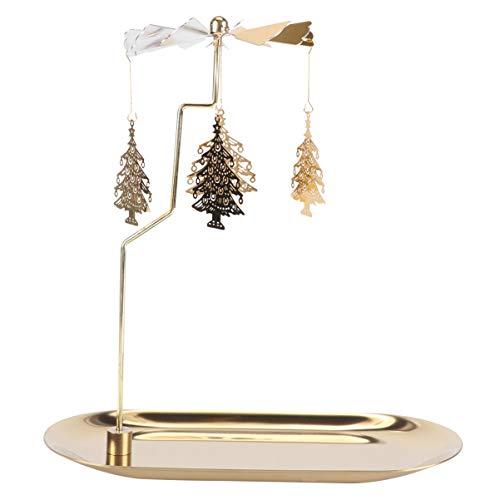 Amosfun - Portacandela a forma di giostrina di Natale, in metallo, colore: oro