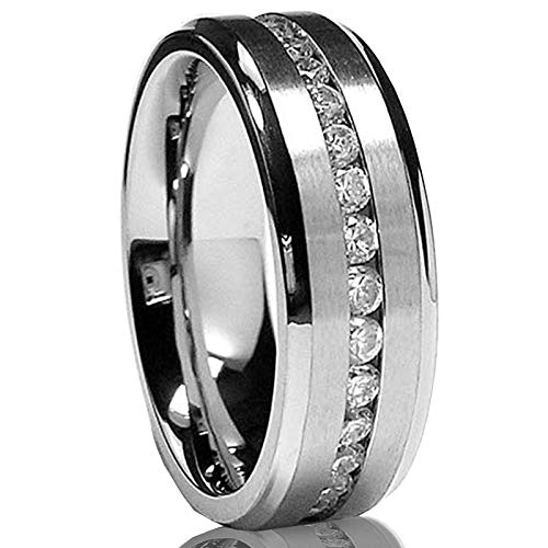Metal Masters Co. 7MM Men's Eternity Titanium Ring Wedding Band with Cubic Zirconia CZ Size 9