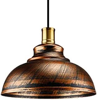 KWOKING Lighting Industrial Pendant Light 1-Light Copper Dome Shade Vintage Barn Hanging Lamp Antique Gold Finish Modern Iron Adjustable Pendant Lighting 11.8inch
