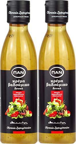 Balsamico Creme Weiss, mit natürlichem Zucker | griechischer fruchtiger Balsamico creme hell | 2x 250 ml