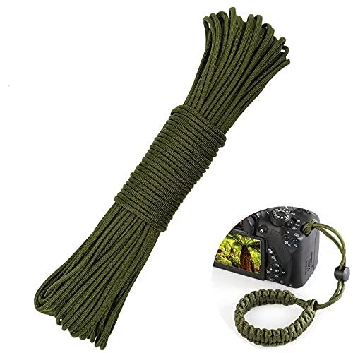 LUKASOHY Paracord, 30m (100ft) Nylonschnur, 4mm 9 Kern Stränge Seil, für Outdoor, Allzweck, Zelt, Armbänder, Hundeleine, DIY Braid (Armeegrün)