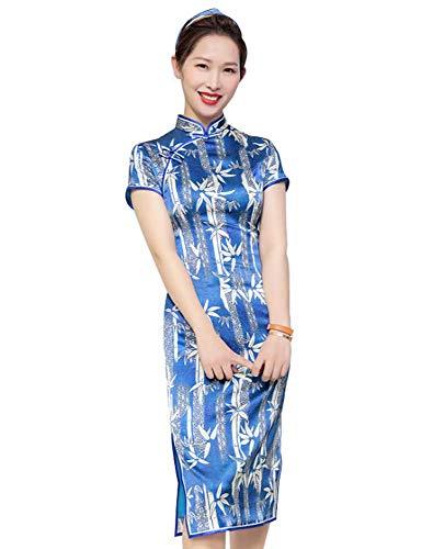 HangErFeng Qipao - Falda de seda china con estampado de bambú, Azul, XXXXL