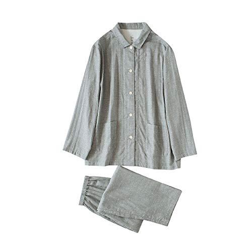 HaHei Langärmliger Pyjama ohne Seitennähte, Doppelschicht-Pyjamaset aus atmungsaktiver Gaze-Baumwolle
