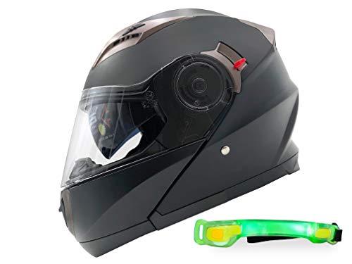 Nat Hut Casco Moto Modular ECE Homologado Casco de Moto Scooter para Mujer Hombre Adultos con Doble Visera (L 59-60cm, Negro)