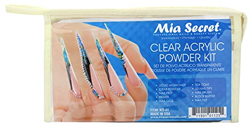 Mia Secret Acrylic Nail Kit: 1/2 oz liquid monomer, 1/2 oz clear acrylic powder, ultra quick nail glue, 1/2 oz ultra gloss top coat, fancy 20 nail tips, 1/2 oz primer, speedy zebra straight nail file 100/100, #8 nail brush and emery block