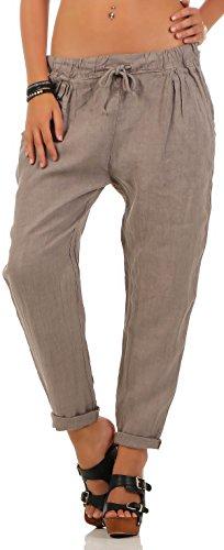 Malito Damen Hose aus Leinen | Stoffhose in Unifarben | Freizeithose für den Strand | Chino - Jogginghose 6816 (Fango, S)
