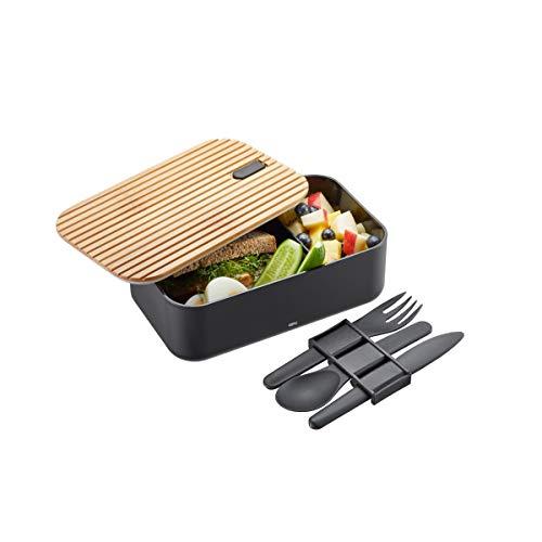GEFU 12376 Lunchbox ENVIRO, mit Besteck-Set, Brotdose für Kinder und Erwachsene, Lunchbox, auslaufsicher, 1 Liter