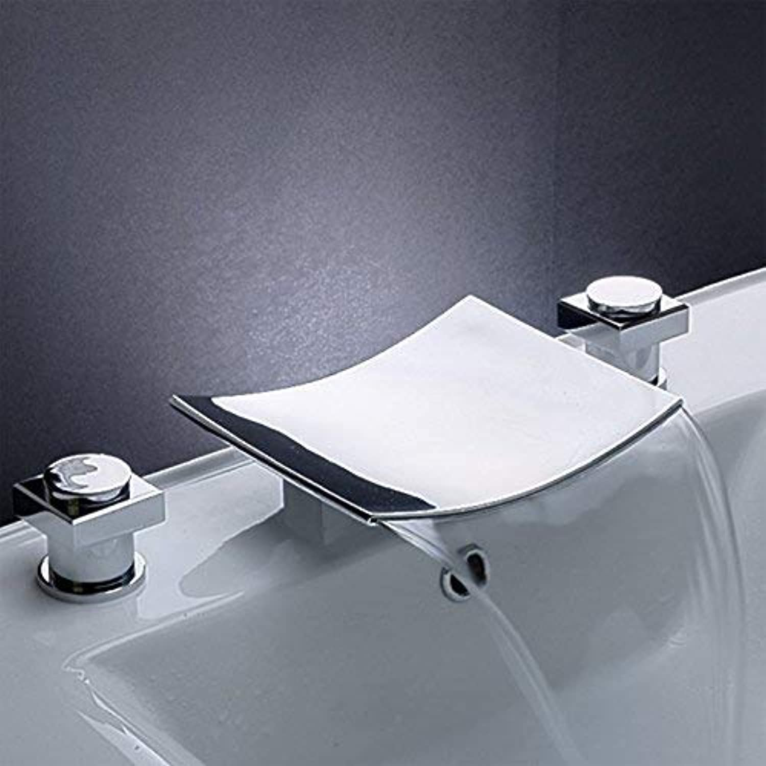 Oudan Waterfall Basin Full of Hot and Cold Taps Copper Toilet Basin Double Washbasin Three Holes to Separate Three-Piece, Led Ax Three-Piece (color   Curved Three-piece - Without Led, Size   -)