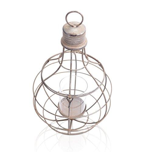 Chiccie Lantaarn in industriële look van metaal - goud/zilver met glazen inzetstuk theelichthouder kaarsenhouder windlicht