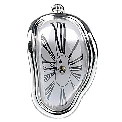 Winnfy Schmelzende Uhr Gebogene Uhr Surrealistische Salvador Dali Stil Home Office Regal Schreibtisch Tisch Lustige Kreative Geschenk L-Förmigen Silber