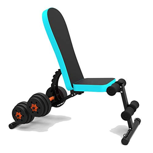 LIULU Multifunktions Rückenlehne Hantel Bank Fitness Stuhl faltbar verstellbar sitzen Bauch Bank Trainingsbank (Color : Blue)