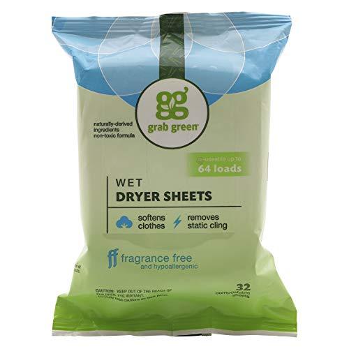 Grab Green - Hojas secadoras húmedas naturales, sin perfume, sin perfume, sin transparencia, suavizante y reductor estático, 64 cargas, reutilizables y compostables, sin fragancia (6 unidades)
