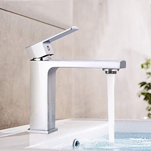 Grifo de lavabo DALMO DBWF02JD, grifo de baño, grifo de lavabo con perlator ABS de alta calidad y válvulas de cerámica, latón cromado, agua caliente y fría, diseño elegante