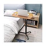 ABD Mesa de sobrecama con ruedas, fácil de montar, escritorio móvil con altura ajustable, se puede utilizar en el dormitorio, sala de estar, cama de enfermería (color: roble pálido)